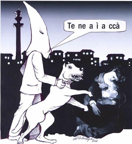 vignetta di Nello Colavolpe: un incappucciato con cane feroce caccia una donna che allatta il suo bambino