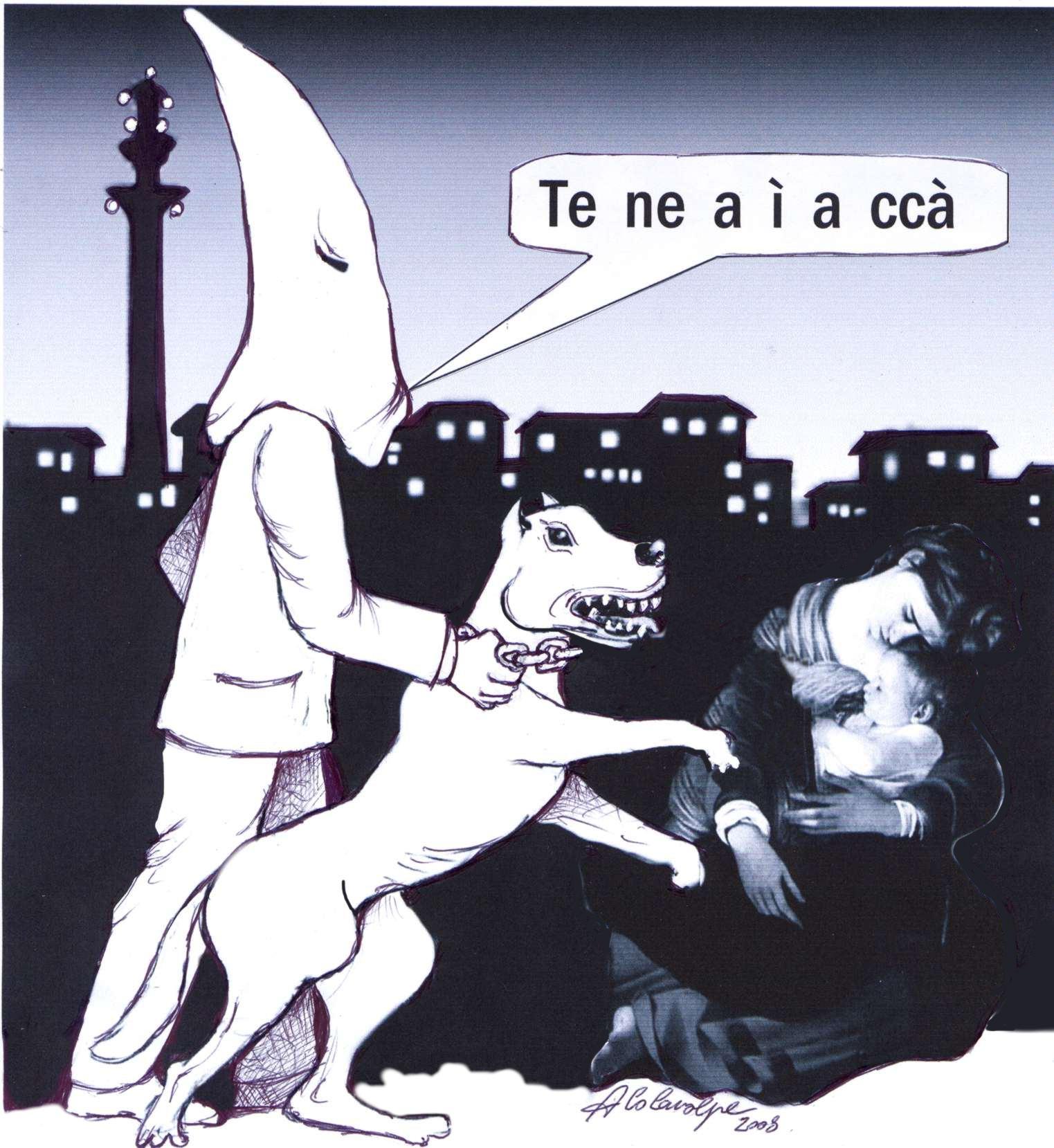 vignetta di Nello Colavolpe: un incappucciato con cane feroce caccia una donna che allatta il suo bambino'