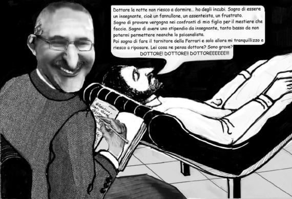 Nello Colavolpe sul lettino del preside-psicanalista - vignetta di Nello Colavolpe