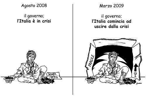 vignetta: povero chiede elemosina e continua a chiedere elemonisina anche se il governo proclama che stiamo uscendo dalla crisi