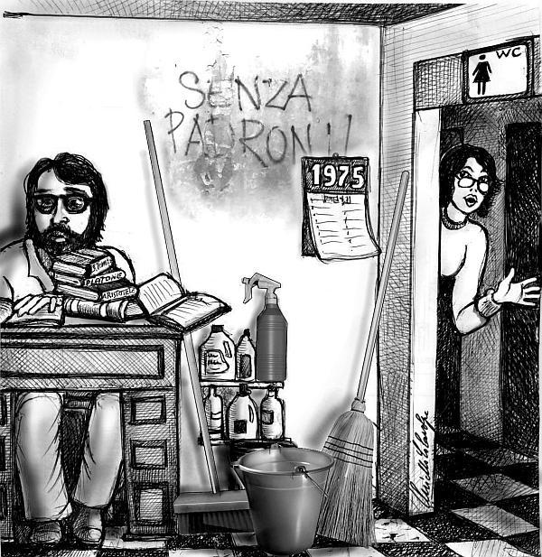 Paganini bidello - vignetta di Nello Colavolpe
