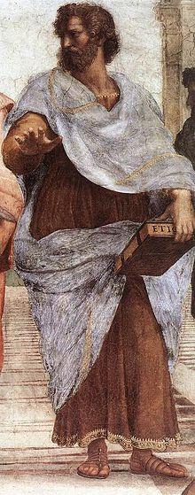 Aristotele. Dettaglio dalla Scuola di Atene di Raffaello Sanzio (1509).